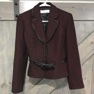Tahari Black & Red Dotted Cropped Blazer with Belt
